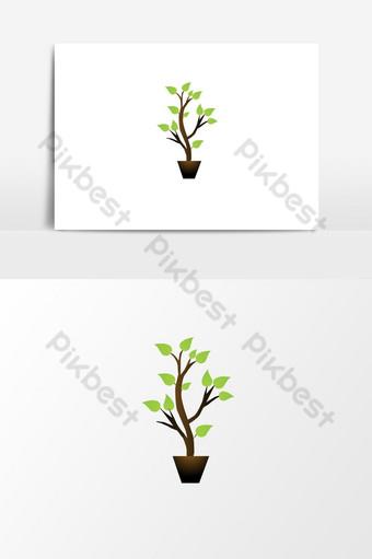 شجرة خضراء طبيعية مفهوم الشعار عنصر الرسم ناقلات صور PNG قالب AI