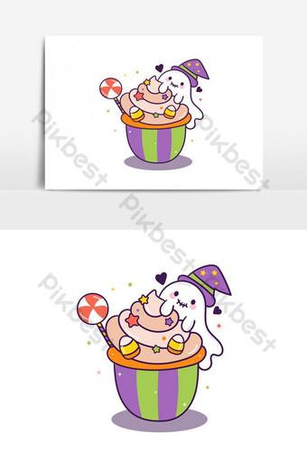 مهرجان هالوين سعيد لطيف كعكة الكرتون وأشباح الحلوى تزيين أعلى عنصر الرسم ناقلات صور PNG قالب AI
