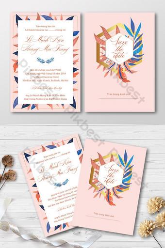 Full Set Creative Fashion Colorful Leaves Wedding Invitation Card Template AI