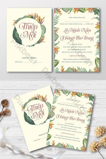 Ensemble complet belle carte d'invitation de mariage floral tropical vintage Modèle AI