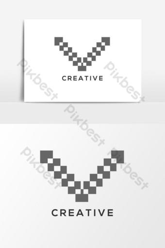 v letra logo y elemento gráfico vectorial Elementos graficos Modelo AI