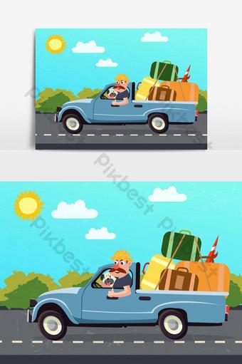 viaje por carretera dibujo coche equipaje hombre color dibujos animados vector elemento gráfico Elementos graficos Modelo AI