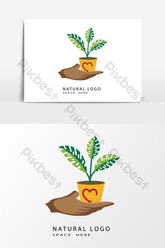 الورقة الخضراء الطبيعية شعار مفهوم عنصر الرسم ناقلات صور PNG قالب AI