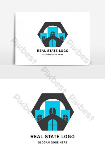 elemen grafis vektor logo real estat yang tidak umum Elemen Grafis Templat AI