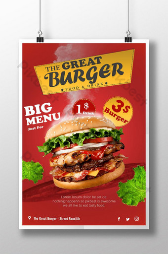 cartel de comida de hamburguesa caliente impresionante psd Modelo PSD