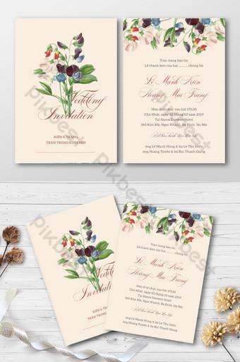 Full Set Beautiful Fashion Butterfly Pea Flower Wedding Invitation Card Template AI