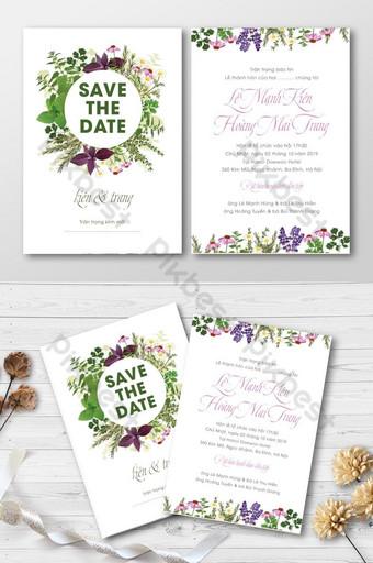 Carte d'invitation de mariage d'herbes et de fleurs vintage élégantes Modèle AI
