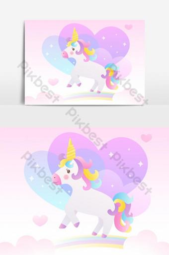 unicornio y arco iris colorido en el elemento gráfico de vector de cielo Elementos graficos Modelo EPS