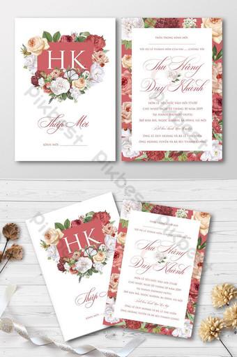 Ensemble complet belle carte d'invitation de mariage de jardin de roses en fleurs colorées Modèle AI
