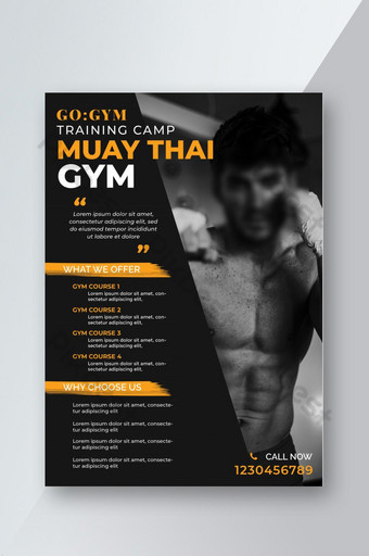 Modèle de conception de flyer de formation de gym fitness Modèle PSD