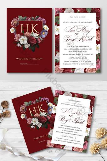 Carte d'invitation de mariage de fleurs de roses et de pivoines bourgogne rétro Modèle AI