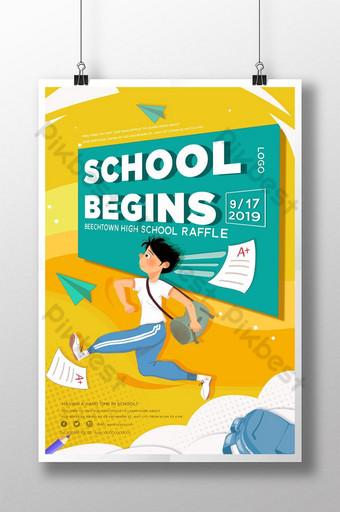 plantilla de regreso a la escuela de educación de temporada escolar de dibujos animados amarillo Modelo PSD