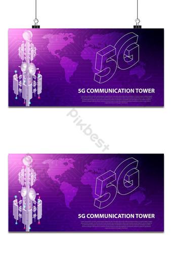 base de tecnologia de rede móvel 5g torre de antena de comunicação internet sem fio de alta velocidade Fundos Modelo AI