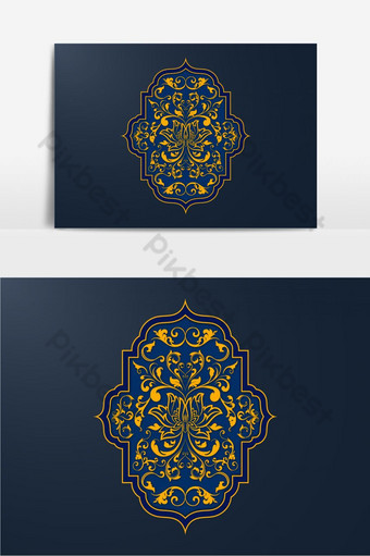Seamless Islamic Moroccan pattern set PNG Images Template EPS