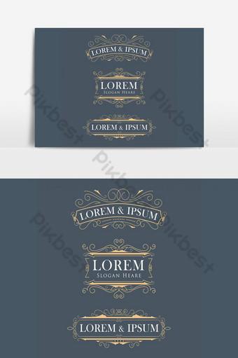lujo corona marco moderno vector logotipos florece caligrafía elegante elemento gráfico vectorial Elementos graficos Modelo AI