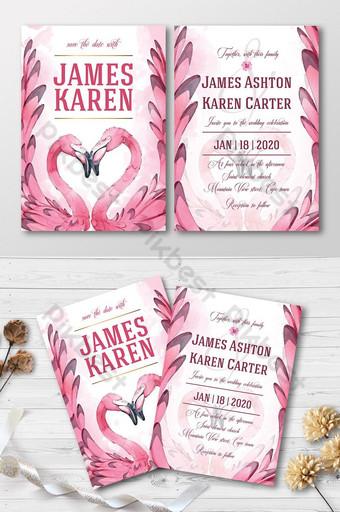Carte d'invitation de mariage de flamant rose de belles aquarelles douces ensemble complet Modèle AI