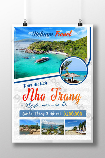 Poster design theme Vietnam sea tourism Template AI