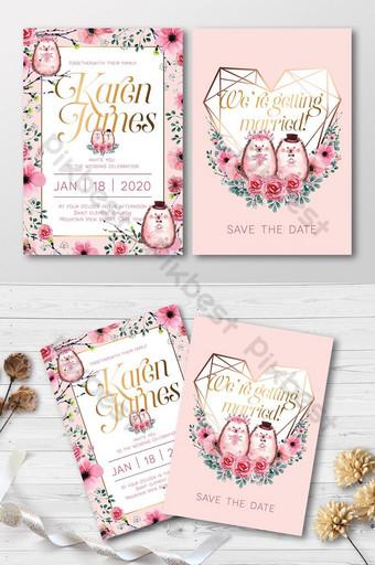 Ensemble complet mignon de couples de hérisson doux aquarelles avec carte d'invitation de mariage de roses Modèle AI
