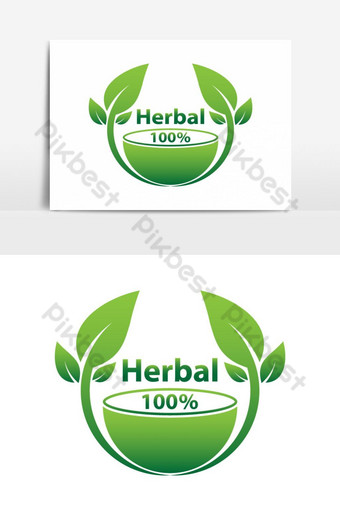 plantilla de logotipo de hierbas verdes elemento gráfico de vector herbal 100 Elementos graficos Modelo PSD