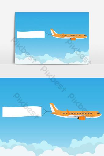 avión volando con banner publicitario en elemento gráfico de vector de cielo azul Elementos graficos Modelo AI