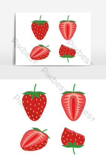 Vector illustration of set fresh strawberry isolated Vector Graphic Element PNG Images Template AI