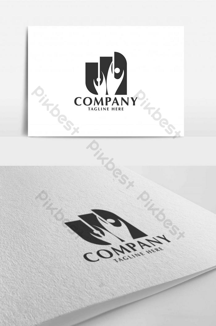 Couple Business Diagram Monogram Negative Space Logo Design Template