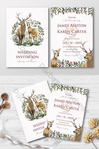 Ensemble complet de beaux couples de cerfs aquarelles douces dans la carte d'invitation de mariage de forêt Modèle AI