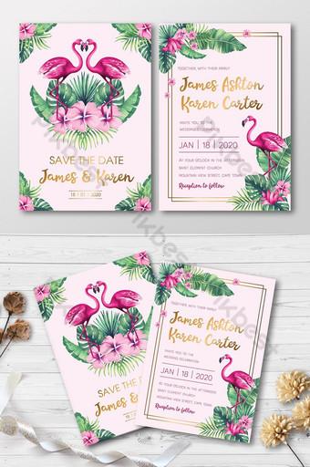 Ensemble complet d'aquarelles de mode flamant rose avec carte d'invitation de mariage de fleurs tropicales Modèle AI