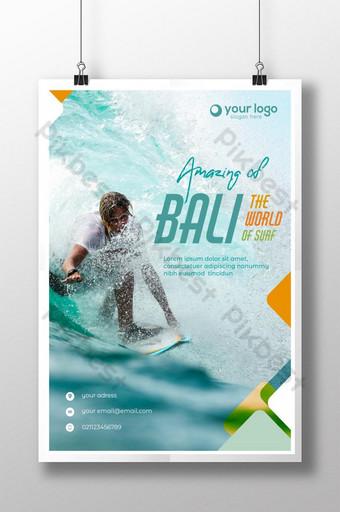 desain poster template bali surfing indonesia Templat PSD