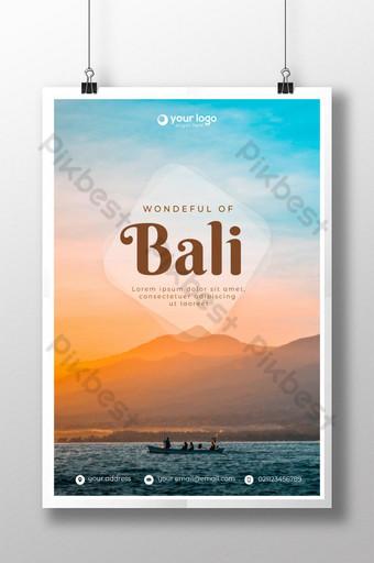 travel poster template bali indonesia Templat PSD