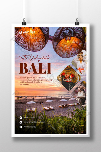 desain poster perjalanan indonesia bali indonesia Templat PSD