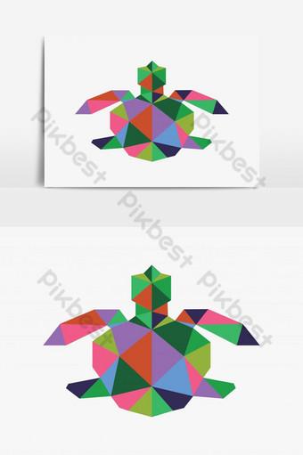 elemento gráfico de vector de forma de tortuga estilo polígono Elementos graficos Modelo AI