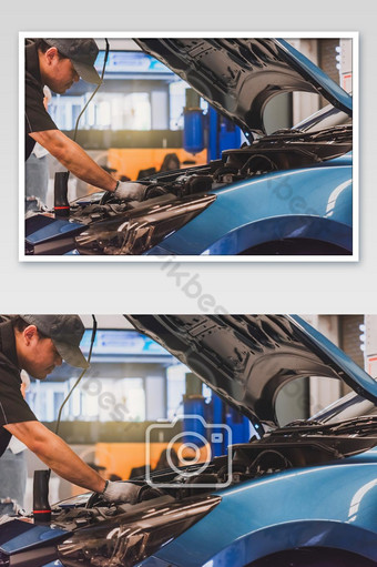 Man mechanic inspection service maintenance car for checking with customer checking engine photo Photo Template JPG