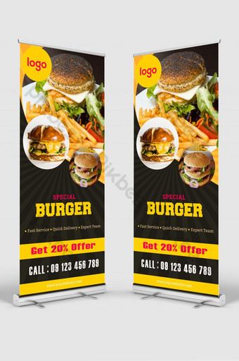 restoran burger menggulung spanduk Templat AI