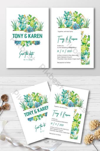 Carte d'invitation de mariage de cactus verts et de plantes succulentes élégantes d'aquarelles Modèle AI