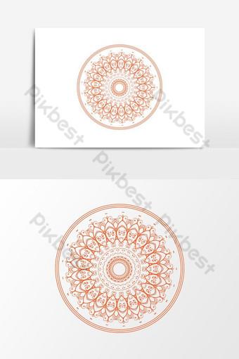 elemento gráfico de vector naranja moderno patrón floral redondo Elementos graficos Modelo AI