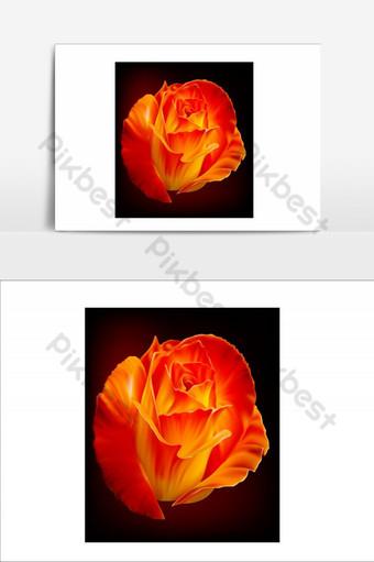 elemento de flores increíbles elemento gráfico de vector rojo Elementos graficos Modelo AI
