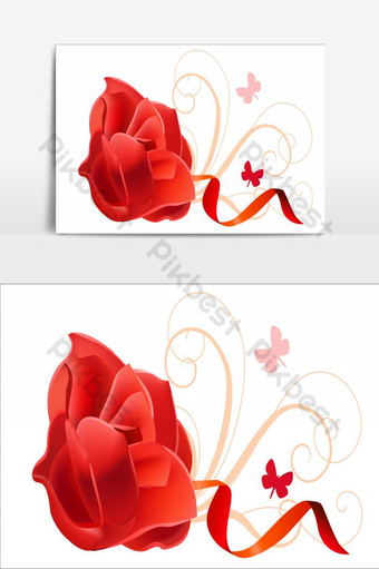 diseño de elemento de flores increíbles elemento gráfico de vector rosa roja Elementos graficos Modelo AI