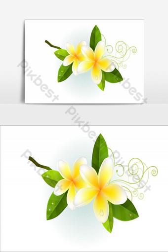 diseño de elemento de flores increíbles elemento gráfico de vector amarillo claro Elementos graficos Modelo AI