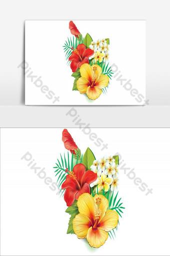 Increíble diseño de elementos de flores elemento gráfico de vector amarillo y rojo Elementos graficos Modelo AI