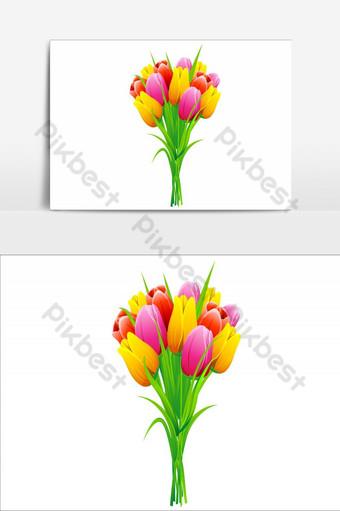 elemento de diseño de elemento de flores increíbles vector elemento gráfico de vector de ramo fabuloso Elementos graficos Modelo AI