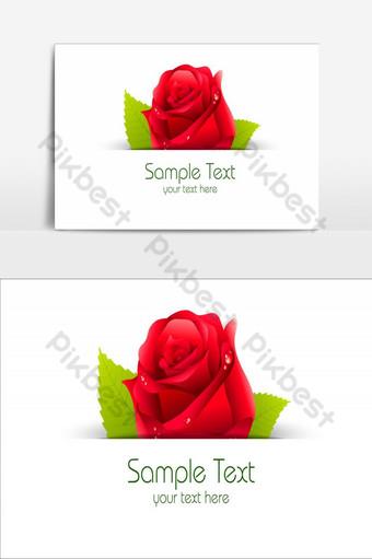 diseño de elemento de flores increíbles elemento gráfico de vector de gotas de agua de rosa roja Elementos graficos Modelo AI