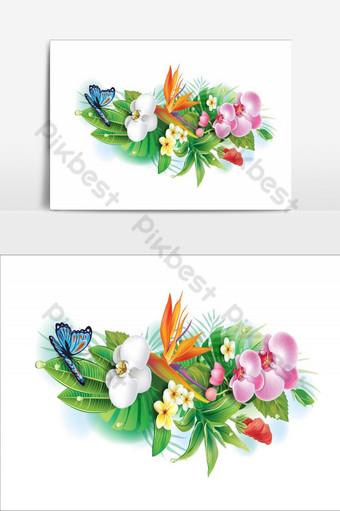 diseño de elemento de flores increíbles elemento gráfico de vector de ramo colorido Elementos graficos Modelo AI