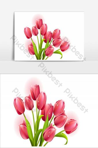elemento de flores increíbles elemento gráfico de vector de rosa roja Elementos graficos Modelo AI