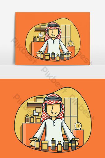 Cute Arab Businessman Selling Parfume Illustration PNG Images Template AI