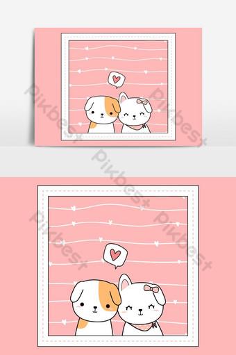 lindo adorable pastel perro cachorro amante pareja rosa marco vector elemento gráfico Elementos graficos Modelo AI