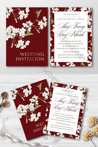 Carte d'invitation de mariage de belles fleurs de cerisier blanc rétro ensemble complet Modèle AI