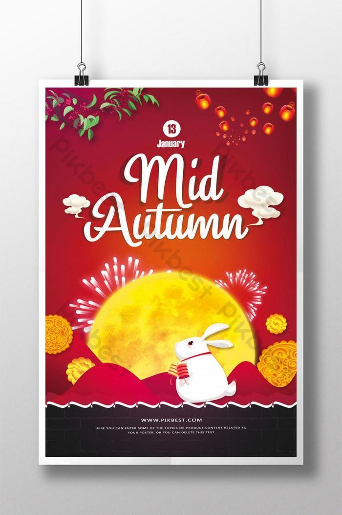 poster liburan festival pertengahan musim gugur merah meriah