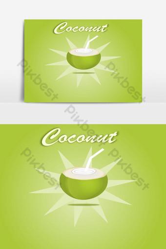 mở nước dừa uống trái cây xanh yếu tố đồ họa vector Công cụ đồ họa Bản mẫu EPS