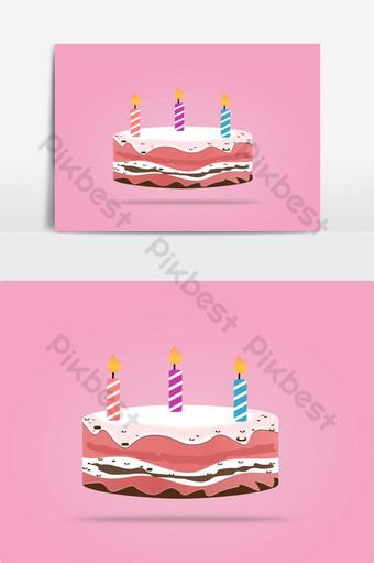 Conception de vecteur bougie gâteau anniversaire isolélément graphique vectoriel Éléments graphiques Modèle EPS